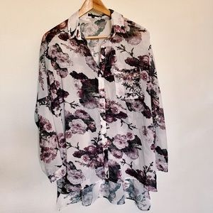 LF Sheer Floral Button Up